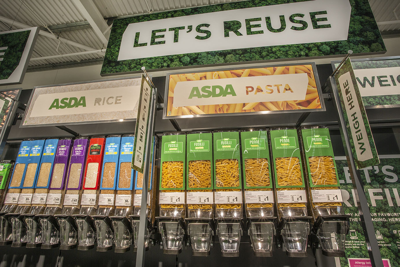 Refill area in Asda's new sustainability store
